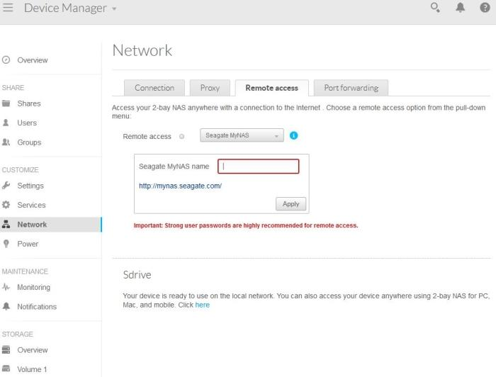 You can log in remotely using a URL that is managed by Seagate's MyNAS site.