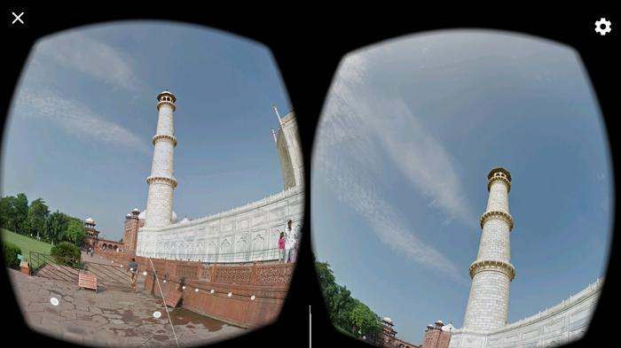 """Being able to """"walk"""" along the outside of the temple and look up - navigating using the controller like a kind of virtual white stick - is far more immersive than watching Aunty Doris' old slide show."""