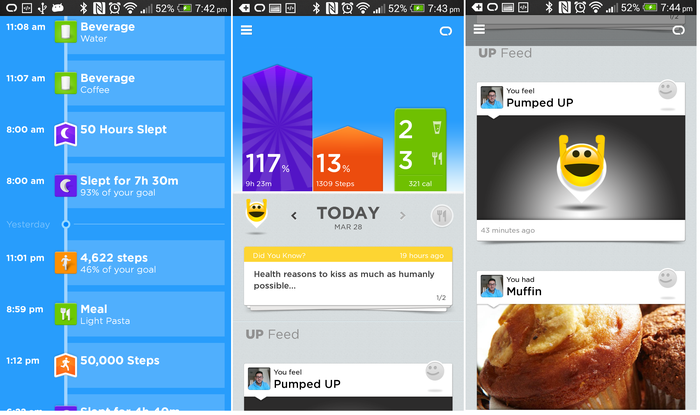 Swiping up generates an overview; the summary home screen; swiping down displays recent tasks