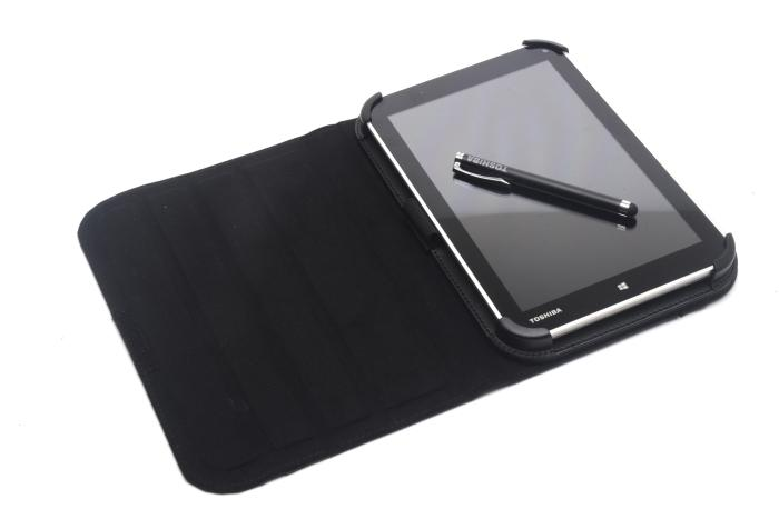 Here is the Encore sitting in its optional Rotate Case, which costs $70, and with the optional Touch Screen Pen ($20) sitting on top of the screen.