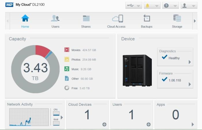 The main interface is clean and offers pertinent information about your NAS.