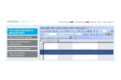 ThinkFree Office Online productivity suite